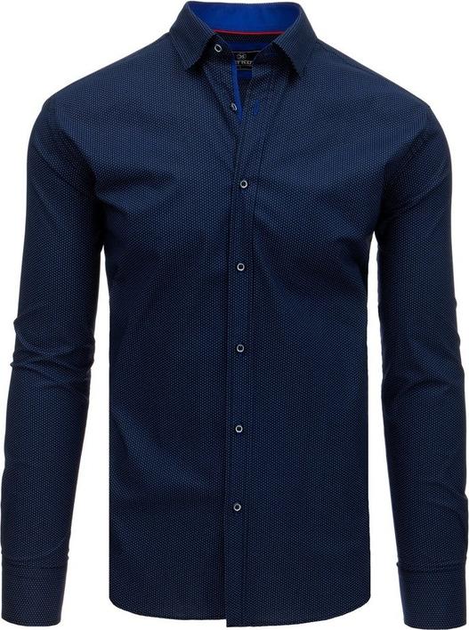 Niebieska koszula Dstreet z klasycznym kołnierzykiem z bawełny z długim rękawem