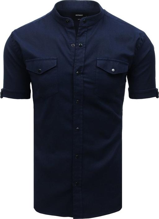 Niebieska koszula Dstreet z krótkim rękawem ze stójką