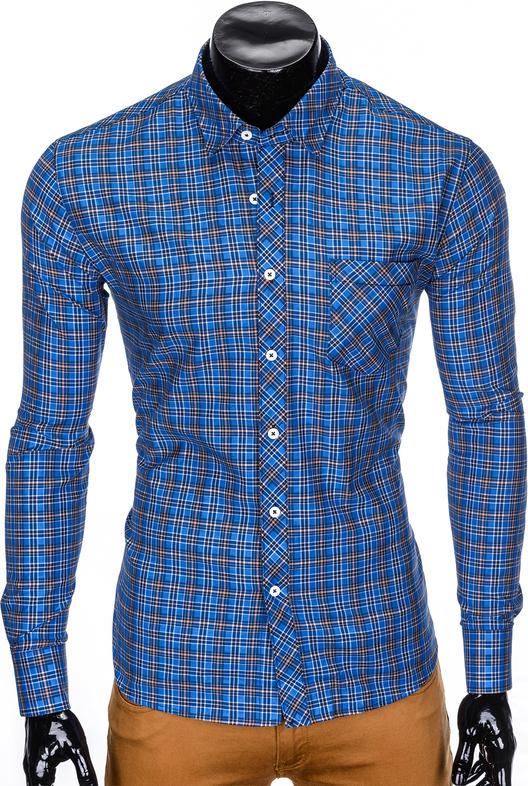 Niebieska koszula Edoti.com z długim rękawem