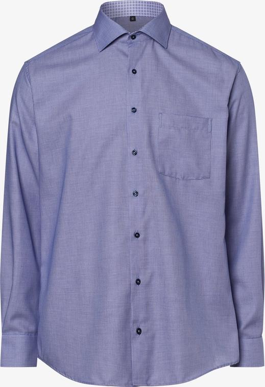 Niebieska koszula Eterna z klasycznym kołnierzykiem z bawełny z długim rękawem