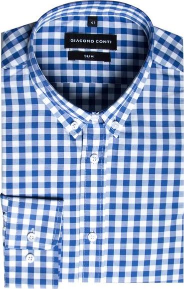 Niebieska koszula Giacomo Conti z kołnierzykiem button down z długim rękawem