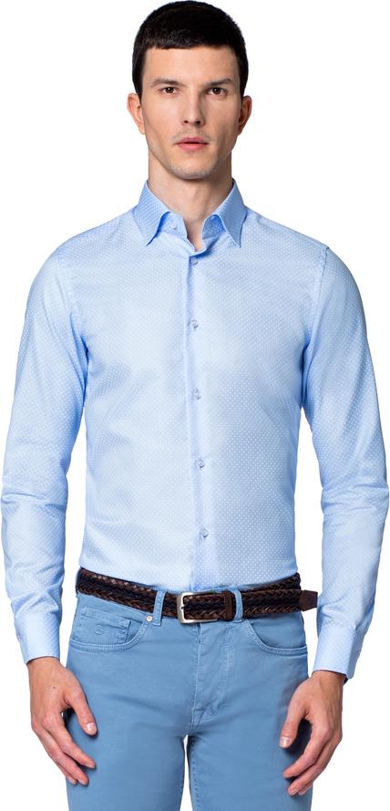 Niebieska koszula LANCERTO z klasycznym kołnierzykiem z bawełny z długim rękawem