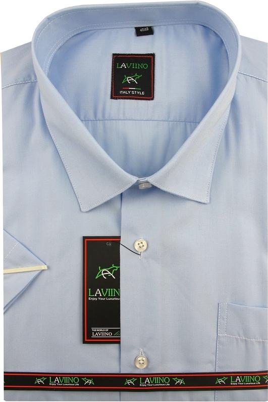 Niebieska koszula Laviino z klasycznym kołnierzykiem z tkaniny