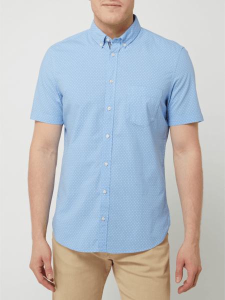 Niebieska koszula Montego w stylu casual z bawełny