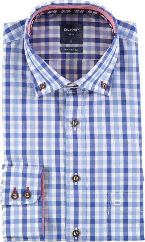 Niebieska koszula Olymp z bawełny z kołnierzykiem button down