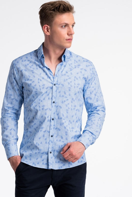 Niebieska koszula Ombre_Premium z długim rękawem