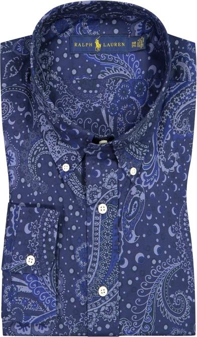 Niebieska koszula POLO RALPH LAUREN z kołnierzykiem button down z bawełny