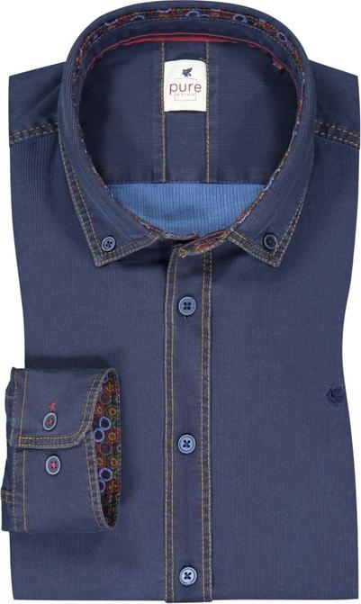 Niebieska koszula Pure z kołnierzykiem button down ze sztruksu