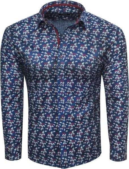 Niebieska koszula Recea z bawełny z długim rękawem