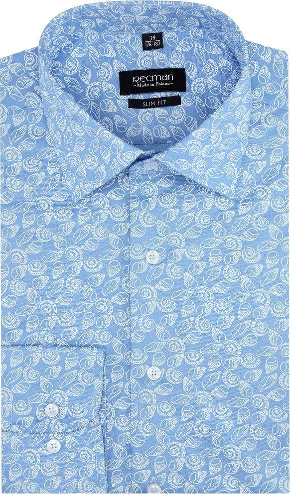 Niebieska koszula Recman w młodzieżowym stylu z włoskim kołnierzykiem