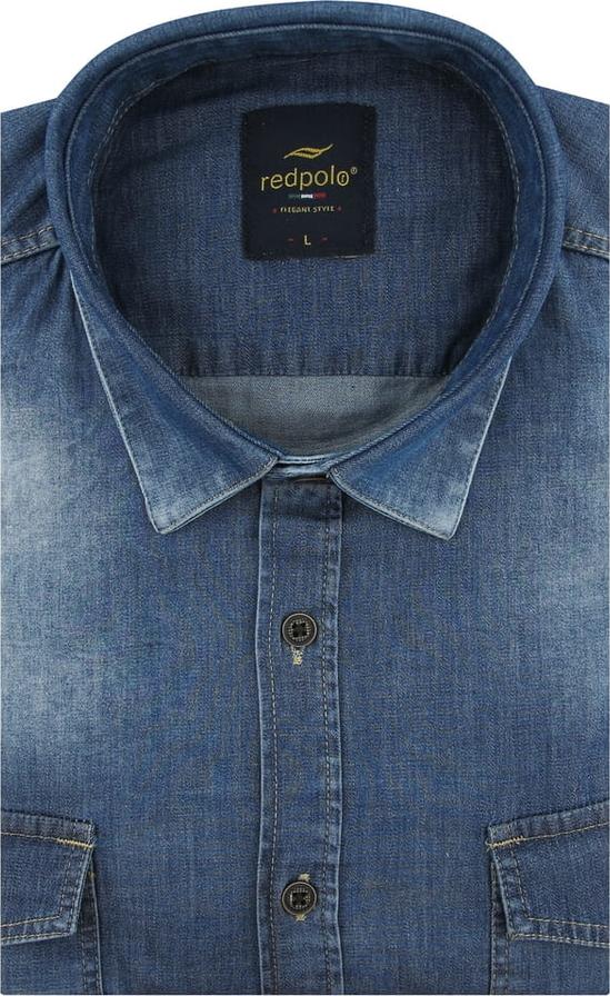 Niebieska koszula Redpolo z klasycznym kołnierzykiem