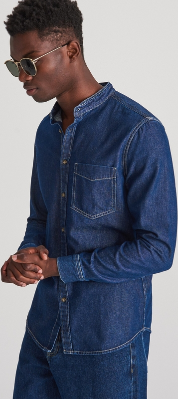 Niebieska koszula Reserved z długim rękawem ze stójką
