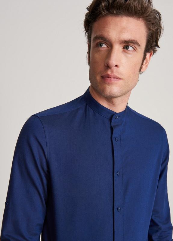 Niebieska koszula Reserved ze stójką z bawełny z długim rękawem