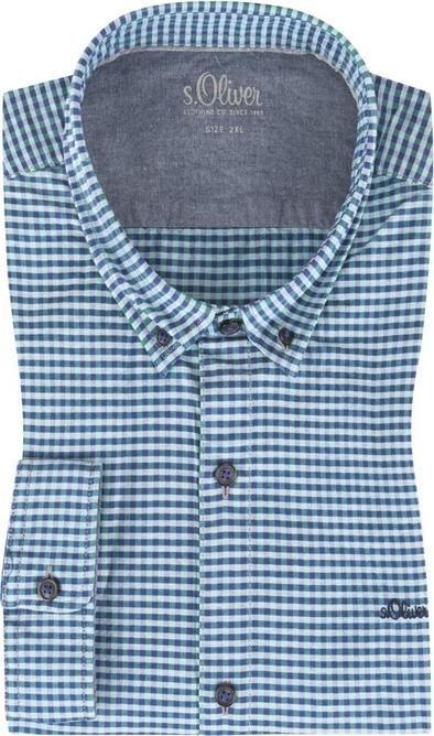 Niebieska koszula S.Oliver z klasycznym kołnierzykiem z długim rękawem