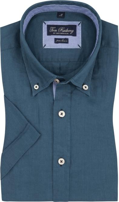 Niebieska koszula Tom Rusborg z lnu z krótkim rękawem z klasycznym kołnierzykiem
