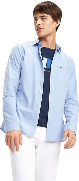 Niebieska koszula Tommy Jeans z długim rękawem w stylu casual