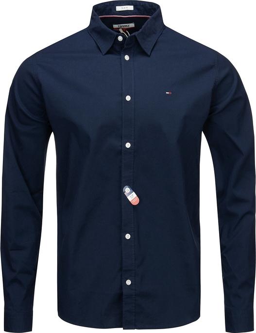 Niebieska koszula Tommy Jeans z długim rękawem z klasycznym kołnierzykiem z bawełny