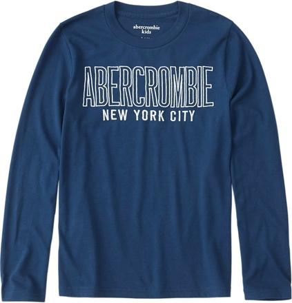 Niebieska koszulka dziecięca Abercrombie & Fitch z długim rękawem z dżerseju