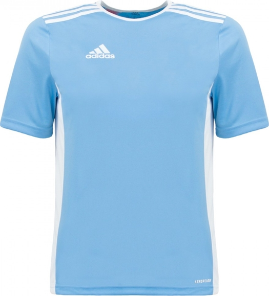 Niebieska koszulka dziecięca Adidas z tkaniny dla chłopców w paseczki