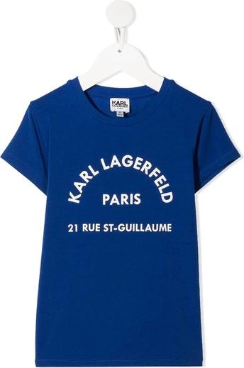Niebieska koszulka dziecięca Karl Lagerfeld z krótkim rękawem
