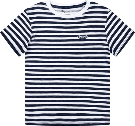 Niebieska koszulka dziecięca Pepe Jeans w paseczki z krótkim rękawem