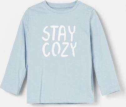 Niebieska koszulka dziecięca Reserved z długim rękawem z bawełny