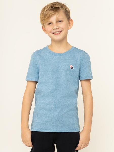 Niebieska koszulka dziecięca Tommy Hilfiger z krótkim rękawem