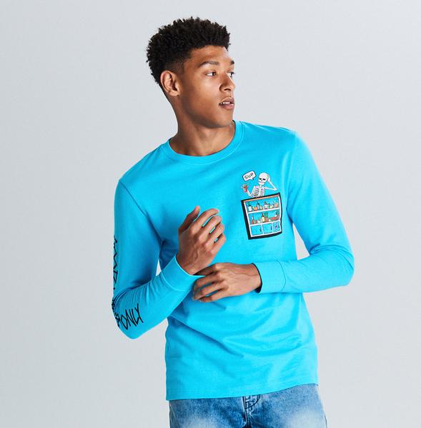 Niebieska koszulka z długim rękawem Cropp