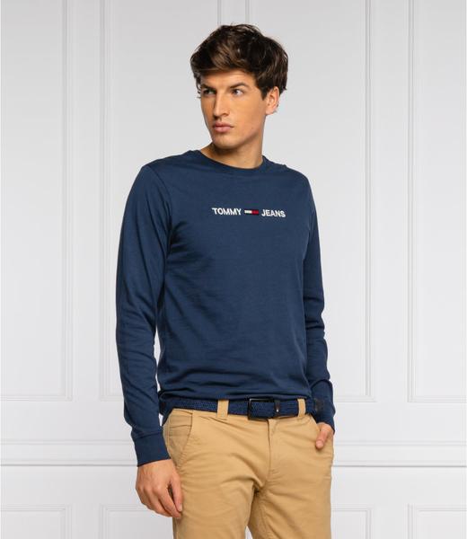 Niebieska koszulka z długim rękawem Tommy Jeans z bawełny z długim rękawem