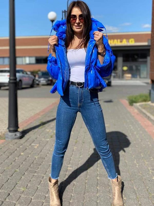Niebieska kurtka Butik krótka w stylu casual