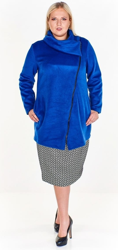Niebieska kurtka Fokus w stylu casual z wełny