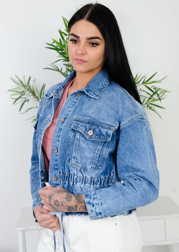 Niebieska kurtka Olika z jeansu w młodzieżowym stylu
