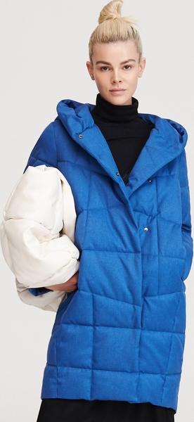 Niebieska kurtka Reserved długa w stylu casual