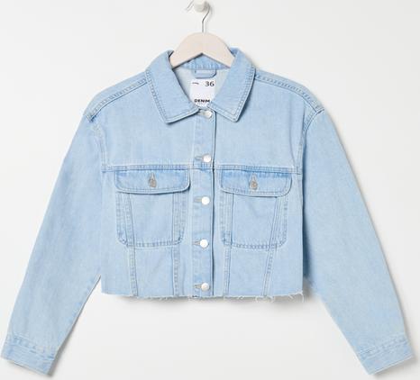 Niebieska kurtka Sinsay w stylu casual krótka z jeansu