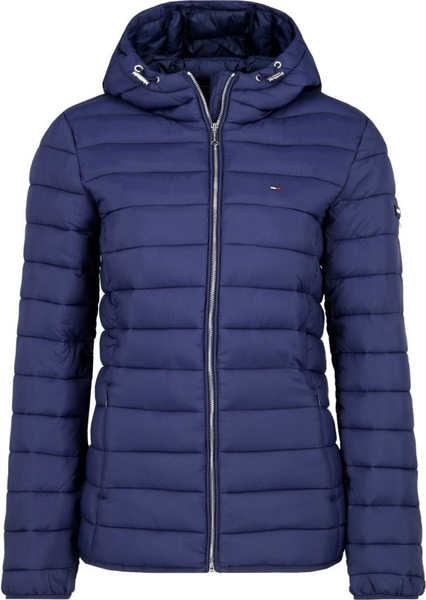 Niebieska kurtka Tommy Jeans krótka w stylu casual