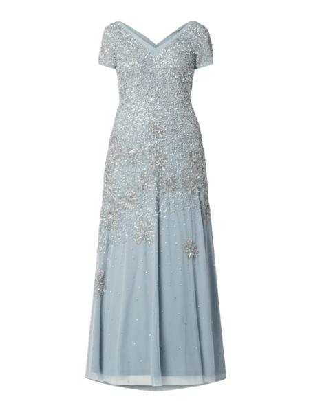 Niebieska sukienka Adrianna Papell z tiulu