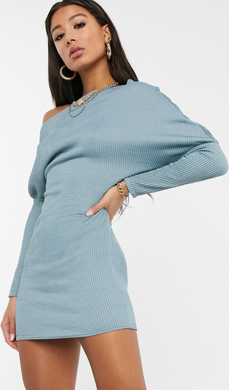 Niebieska sukienka Asos Design bandażowa z długim rękawem