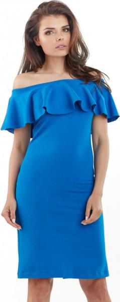Niebieska sukienka Awama z dzianiny z odkrytymi ramionami