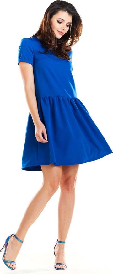 Niebieska sukienka Awama z krótkim rękawem z okrągłym dekoltem mini