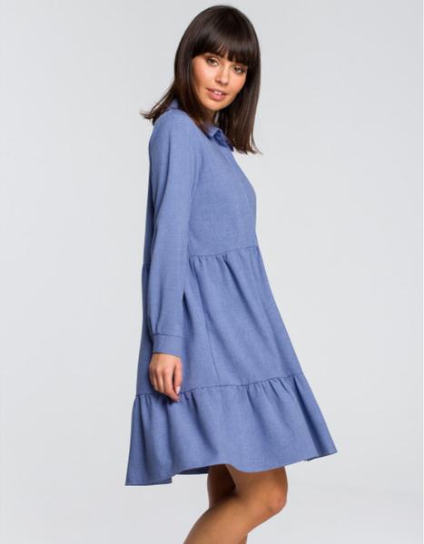 Niebieska sukienka Be mini z długim rękawem