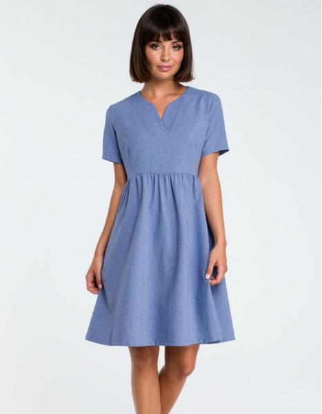 Niebieska sukienka Be mini z krótkim rękawem z tkaniny
