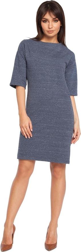 Niebieska sukienka Be w stylu casual dopasowana