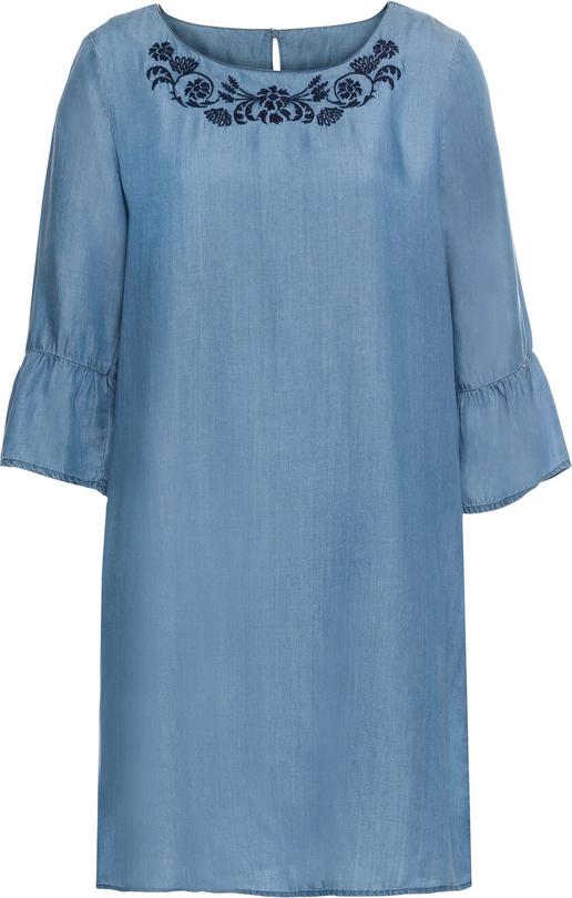 Niebieska sukienka bonprix BODYFLIRT w stylu casual oversize z okrągłym dekoltem