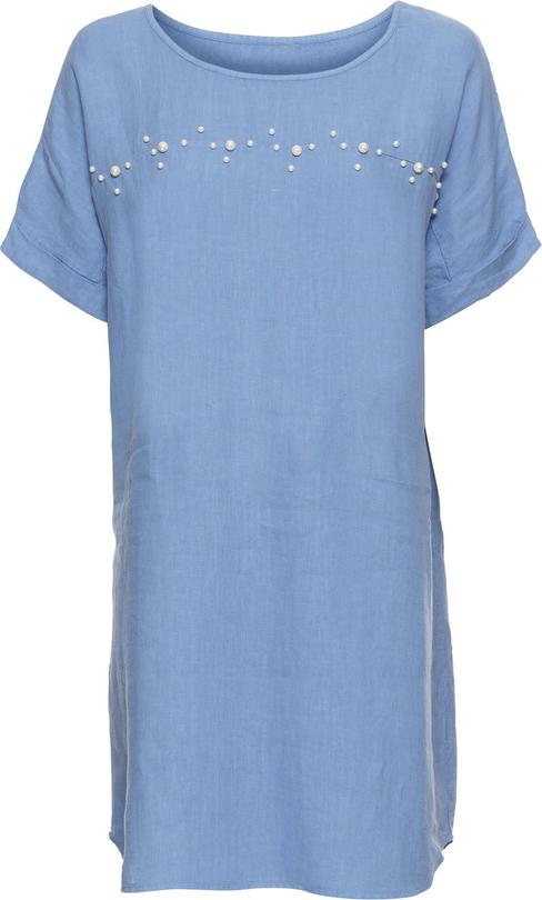 Niebieska sukienka bonprix BODYFLIRT z krótkim rękawem z lnu