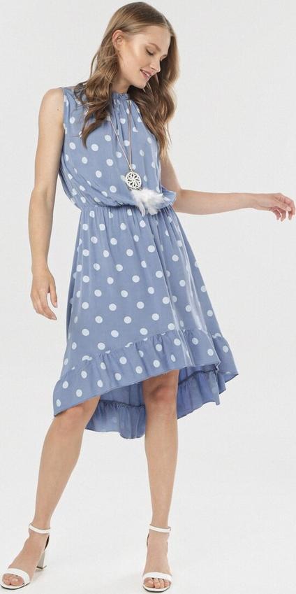 Niebieska sukienka born2be bez rękawów w stylu casual asymetryczna