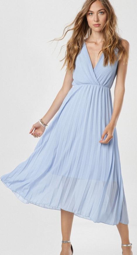 Niebieska sukienka born2be bez rękawów z dekoltem w kształcie litery v
