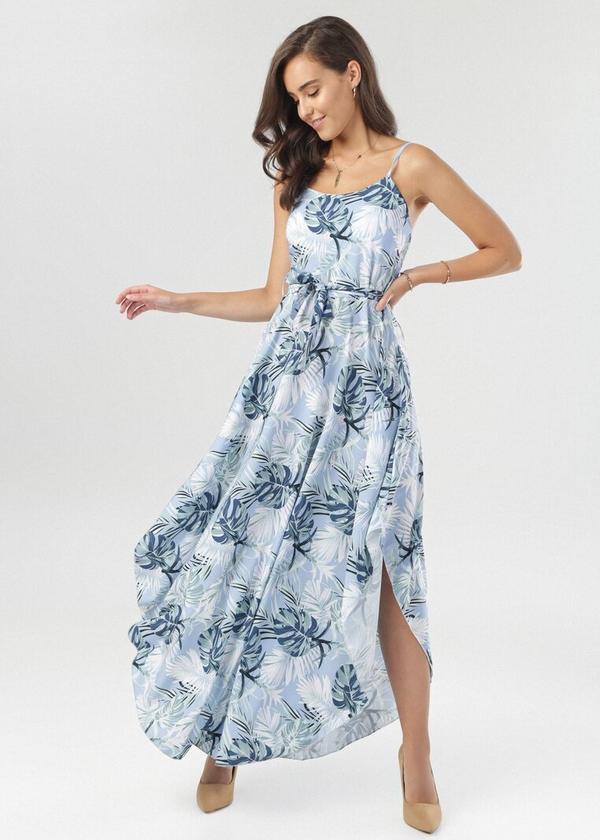 Niebieska sukienka born2be w stylu boho rozkloszowana maxi