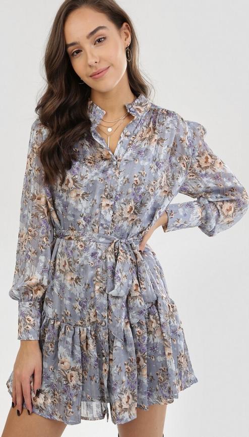 Niebieska sukienka born2be z długim rękawem mini