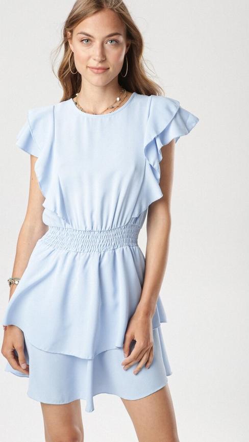 Niebieska sukienka born2be z okrągłym dekoltem