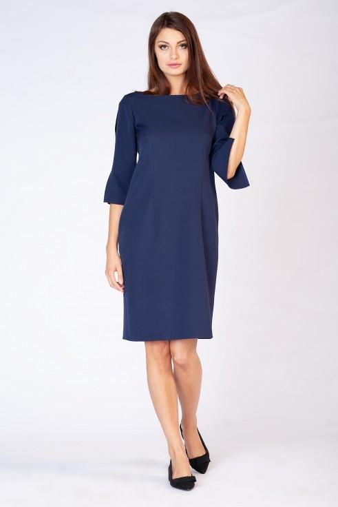 Niebieska sukienka butik-choice.pl z okrągłym dekoltem z długim rękawem